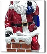 Santa Down The Chimney Canvas Print