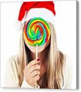 Santa Girl Eating Lollipop Canvas Print