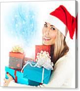 Santa Girl With Gifts Canvas Print