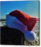 Santa Hat And Ocean 10 12/19 Canvas Print