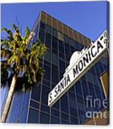 Santa Monica Blvd Sign In Beverly Hills California Canvas Print