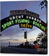 Santa Monica Pier At Dusk Canvas Print