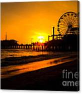 Santa Monica Pier California Sunset Photo Canvas Print