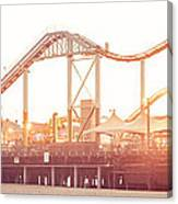 Santa Monica Pier Roller Coaster Panorama Photo Canvas Print