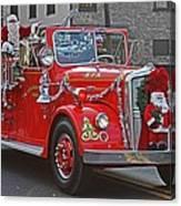 Santa On Fire Truck Canvas Print