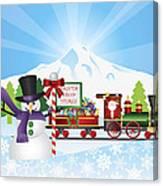 Santa On Train With Snow Scene Canvas Print