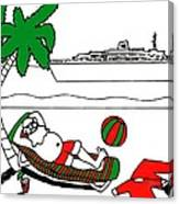 Santa On Vacation Canvas Print