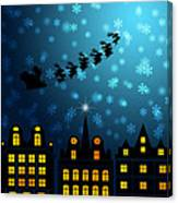 Santa Sleigh Reindeer Flying Over Victorian Houses Canvas Print