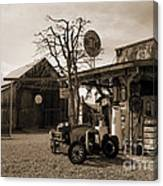 Santa Ynes Gas Station    Sepia Canvas Print