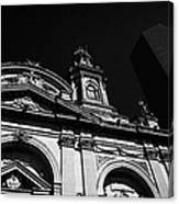 Santiago Metropolitan Cathedral Next To Modern Glass Clad Office Block Chile Canvas Print