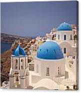 Santorini Blue Domes Canvas Print