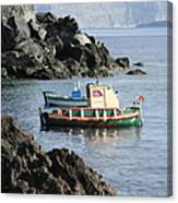 Santorini Boats Canvas Print
