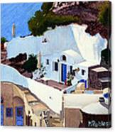 Santorini Cave Homes Canvas Print