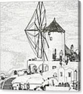 Santorini Windmill Canvas Print