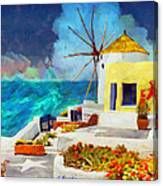 Santorini Windmill Canvas Print