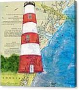 Sapelo Island Lighthouse Ga Nautical Chart Map Art Cathy Peek Canvas Print