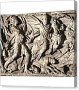 Sarcophagus With Hunting Scene, 3rd C Canvas Print