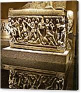 Sarcophoghus Reflected In Antalya Archeological Museum-turkey  Canvas Print