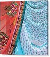 Saree In The Market Canvas Print