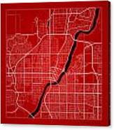 Saskatoon Street Map - Saskatoon Canada Road Map Art On Color Canvas Print