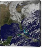 Satellite View Of A Noreaster Storm Canvas Print