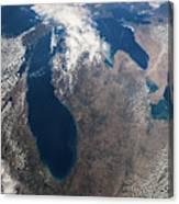 Satellite View Of Great Lakes Canvas Print