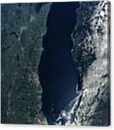 Satellite View Of Lake Michigan Canvas Print