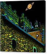 Saturn Over Pabst Brewery Fantasy Image Of Abandoned Home Of Blue Ribbob Beer From 1860  Canvas Print