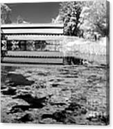 Saucks Bridge - Pond - Bw Canvas Print