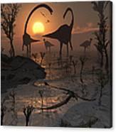 Sauropod And Duckbill Dinosaurs. Canvas Print