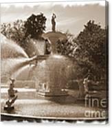 Savannah Fountain In Sepia Canvas Print