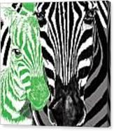 Savannah Greetings Zebra Cane Full Green Variant Canvas Print