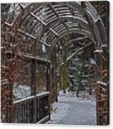 Garden Entrance During Winter Snow At Sayen Gardens Canvas Print
