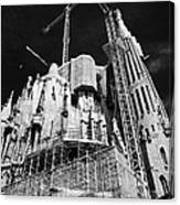 scaffolding and cranes above Sagrada Familia Barcelona Catalonia Spain Canvas Print