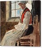 Scandinavian Peasant Woman In An Interior Canvas Print