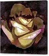 Scanned Rose Water Color Digital Photogram Canvas Print