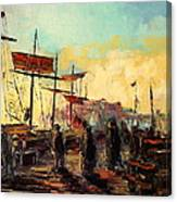 Scarborough Harbour Loading Canvas Print