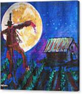 Scarecrow Dancing With The Moon Canvas Print