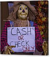Scarecrow Holding Sign Canvas Print