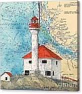 Scarlett Pt Lighthouse Bc Canada Chart Art Canvas Print