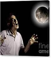 Scary Man Under Cloudy Moon Canvas Print