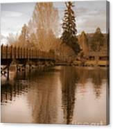 Scenic Golden Wooden Bridge Tree Reflection On The Deschutes River Canvas Print