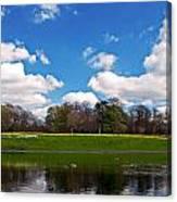 Scenic Park Lake In Spring Time Canvas Print