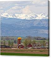 Scenic View Looking Over Anderson Farms Up To Rockies Canvas Print
