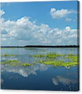 Scenic View Of A Lake Against Cloudy Canvas Print