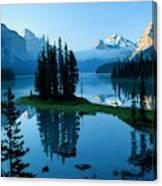 Scenic View Of Maligne Lake In Jasper Canvas Print
