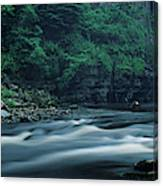 Scenic View Of Waterfall, Teesdale Canvas Print