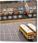 Schoolbuses And Colorful Houses - Atlanta - Georgia Canvas Print