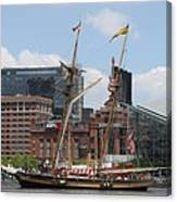 Schooner Arriving At Baltimore Inner Harbor Canvas Print