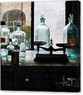 Science - Balance And Bottles In Chem Lab Canvas Print